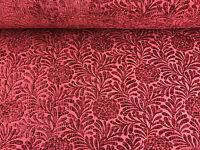 Designer Dark Red Heavyweight Chenille Flowers Luxury Velvet Upholstery Fabric