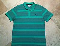 Puma Keeps You Dry Short Sleeve Golf Polo Shirt Striped Cotton Blend Green M