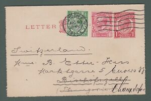 1923 GB - GV uprated 1d letter card from London to Switzerland (P764)