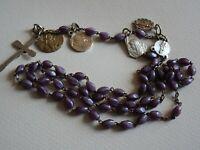 "Lot 4 ancien Médailles Chapelet Rosary Mauve Beads "" Jesus Mary  "" Cross  M 57"
