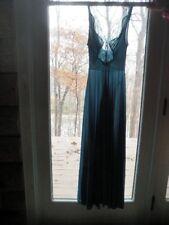 "VTG Olga Teal Chevron Lace FULL Sweep BODYSILK Nightgown 34"" Bust S 9687 Qg"