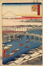 Japanese Art: Hiroshige: Nihonbashi - Nihon Bridge after Snowfall - Art Print