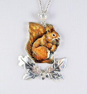 Squirrel Pendant. Cloisonne Enamel. Sterling Silver. Acorns. Oak Leaves.