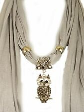 Scarf with Owl Pendant Necklace