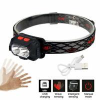 Rot Weiß XPE 3 LED USB Stirnlampe Kopflampe IPX65 Mit Bewegungssensor