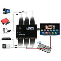 5 Port 1080P Video HDMI Switch Switcher Splitter pour HDTV DVD PS3 + IR 9-HK