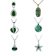 Emerald Green Pendant Christmas Women Necklace with Chain