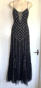 Divine MR K Black Beaded Gown Evening Formal Dress Size 8 #18635
