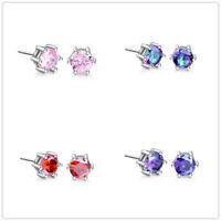 Classic Round Topaz Cubic Zirconia Women Gemstone Stud Earrings Jewelry Gift