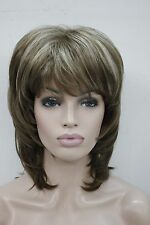 "medium length light brown w/ blond highlight layered 15"" long synthetic full wig"