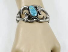 Turquoise Abstract Sandcast Bracelet Vintage Navajo Sterling Silver