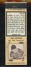 1936-39 Diamond Matchbook Hockey Type 2   Bill Brydge  NY Americans   LOOK !!