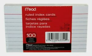 "Mead Ruled INDEX CARDS 5"" x 3"" 100 count Acid Free Flashcards Speeches Notes NEW"