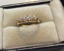 Stunning Ladies Antique Victorian 18 Carat Gold Five Stone Diamond Ring - J 1/2
