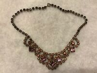 1950s Vintage Glass Necklace Mauve Paste Faux Amethyst Bib Style Retro Jewelry
