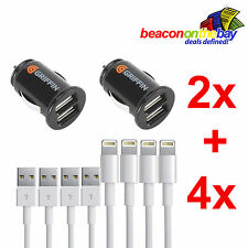 4x iPhone 5/5S/6/7+ Lightning Cable + 2x Griffin Dual-USB Car Charger Special