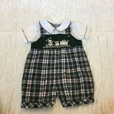 Boys CARRIAGE BOUTIQUES Green Train Smocked Romper 12 12m Onepiece Vintage Style