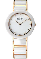 Bering Womens 11429-751 Ceramic White Dial Gold Stainless Steel Band SS Watch