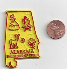 """ALABAMA  """" THE HEART OF DIXIE""""'  STATE OUTLINE MAP MAGNET   NEW"""
