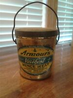 Vintage Armour's Veribest Minc Meat Tin Can With Lid And Bail
