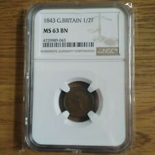 More details for 1843 1/2 half farthing victoria great britain ms63 bn ngc