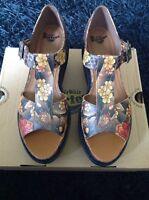 Womens Dr Martens Adaya Tan Tattoo Wedge Platform Limited Edition Sandals UK 7