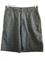 Mens 32 O'Neill Gray plaid casual shorts: longer length