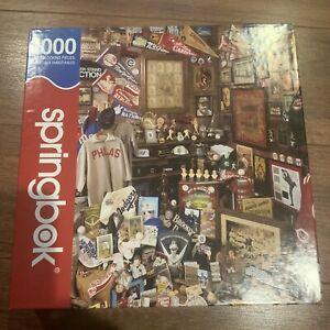 Springbok PUZZLE 1000 Pieces Collector's Closet Vintage Baseball Items COMPLETE