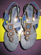Ladies Size 3 Low Wedge Square Diamonte PatternThong Sandal in Royal Blue