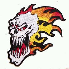 SCREAM SKULL FLAME EMBROIDERED PATCH P304  Iron on biker JACKET patches NEW FIRE