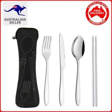 4 Pcs Cutlery Travel Knife Fork Portable Bag Stainless Steel Spoon Chopstick set
