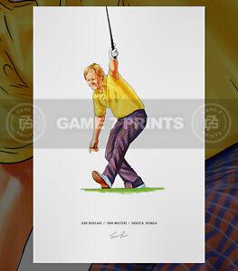 Jack Nicklaus 1986 Masters Augusta Georgia Illustrated Print Poster Art