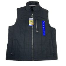 Mens Orvis Quilted Vest Charcoal Black Full Zip Large NWT