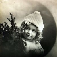 Happy Christmas Card Postcard Vintage Real Picture Cute Girl 1920s 1930s