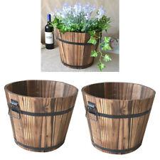 Set of 2 Rustic Wood Bucket Barrel Whiskey Flower Garden Planters Pot w/ Handle