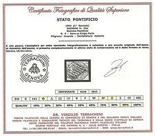 Stato Pontificio 1852 - 6 b. grigio perla - Sassone 7Aa Certificato Usato ASI047
