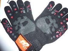 paire de gants noirs, tête de mort grises et etoiles rouges  taille unique