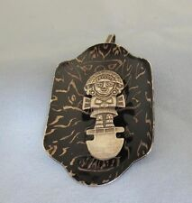 925 Sterling Silver Peruvian Inca Tumi Figure in Enameled Curved  Pin/Pendant