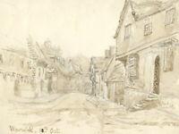 Sepia Mid 20th Century Watercolour - Warwick