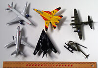 AIRCRAFT x 6 Die Cast Metal MILITARY + CIVILIAN Planes + Helicopter