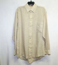 Burberry mens button down shirt size M linen flip cuff signature plaid tan long