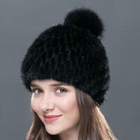 Women Winter Knitted Mink Fur Beanies Cap With Fox Fur Pom Poms Warm Cloche Hat