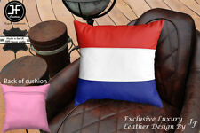 """NETHERLAND FLAG COLOUR LEATHER 1X EXCLUSIVE LUXURY CUSHION 18""""x18"""" PINK BACK"""