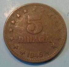 Yugoslavia 5 Dinara coin1945
