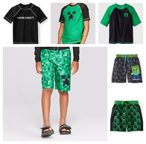 Minecraft Rash Guard or Swim Trunks Beach Shorts Bathing Suit Boys UPF 50+ NEW