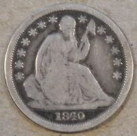 1840-O No Drapery Seated Liberty Dime 10c VG