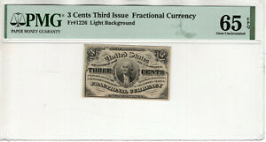 3 CENT THIRD ISSUE FRACTIONAL POSTAL CURRENCY FR.1226 PMG GEM UNC 65 EPQ (010)