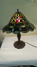 MID CENTURY STAINED GLASS TIFFANY STYLE LAMP