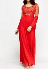 Red Embroidered Lace Wedding Evening Maxi Party Prom Dress Kaftan Abaya Sz 12