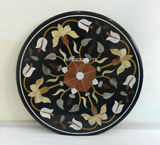 "36"" Black Marble Coffee Table Top Semi Precious Marquetry Inlay Home Decor"